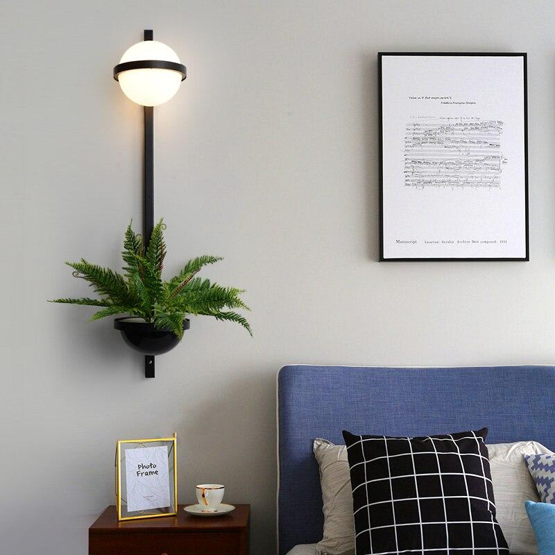 Artpad nórdicos LED Pared de salón lámpara de dormitorio moderno de decoración del hogar iluminación accesorios de vidrio forma de lámpara luces de la planta