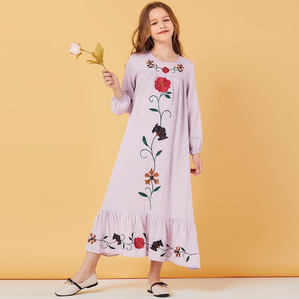 Ramdan Eid Mubarak Girls Abaya For Kids Turkey Children Hijab Muslim Dress Abayas Kaftan Robe Dubai Caftan Islamic Clothing