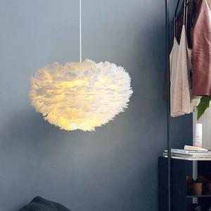 Feather Pendant Lights Pendant Lamp Nordic Design Lustre Vintage Loft Decor Dining Room Kitchen Home Light Fixtures LED ZM1016