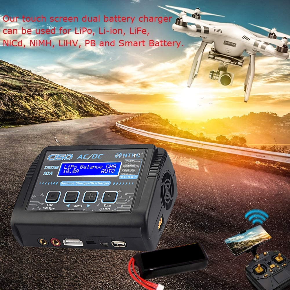 C150 LiPo Battery Charger Rc AC/DC 150W 10A Battery Balance Smart Charger 8 In 1 Connector Splitter Wire NiCd NiMh Pb Battery enlarge