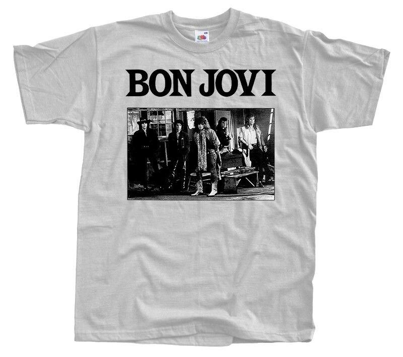 Bon Jovi V2 Jon Bon Jovi Hard Rock poster T-SHIRT (WHITE ZINK) S- XL Mans Unique Cotton Short Sleeves O-Neck T Shirt