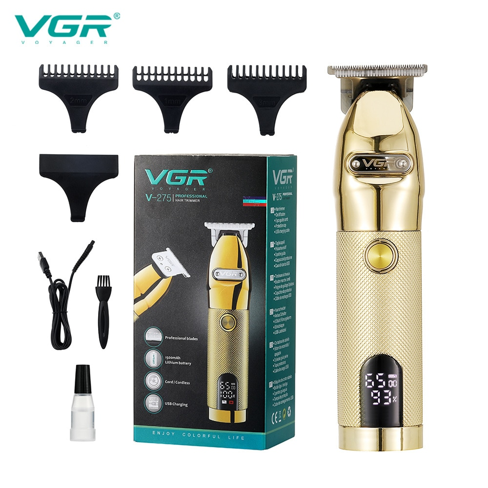 VGR V-275 جديد الكهربائية المقص عالية الطاقة مقص الشعر LCD شحن المعادن كليبرز الكهربائية المقص الحلاق الشعر المتقلب للرجال