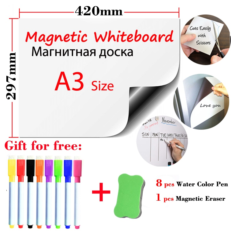 Магнитно-маркерная доска наклейки на холодильник со стирающейся от маркера белый Панели магнит для офиса и школы доска для рисования для де...