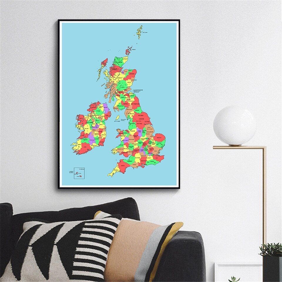 59*84cm The UK Political Map Wall Art Poster Eco-friendly Canvas Painting Living Room Home Decoration Travel School Supplies
