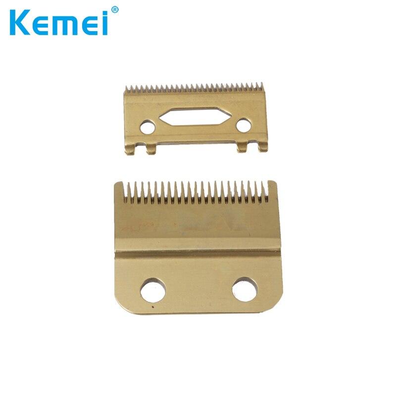 Kemei lâmina de substituição conjunto para kemei KM-1986 KM-1987 alta caixa aço clipper acessórios dourado
