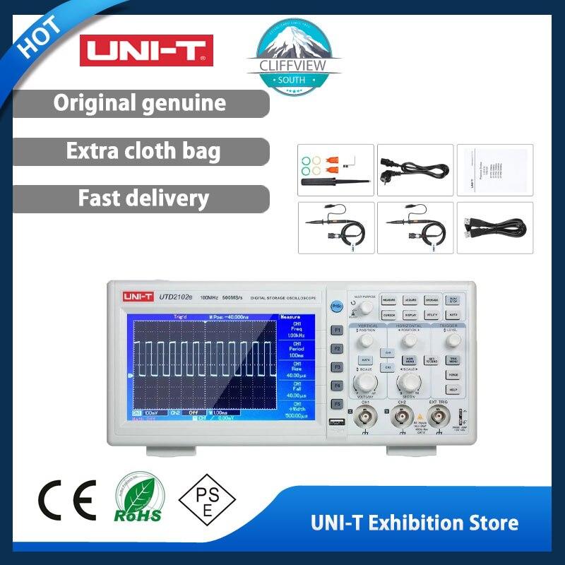 يوني تي ملتقط الذبذبات الرقمي USB المحمولة UTD2102E 100MHz عرض النطاق الترددي 2 قناة راسم الذبذبات 500 عينات عملاقة/ثانية 7