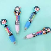 4 Color Anime Demon Slayer Kimetsu No Yaiba Anime Ballpoint Pen Stationery Colorful Pens Supply Stationery Multicolor Pen Gift