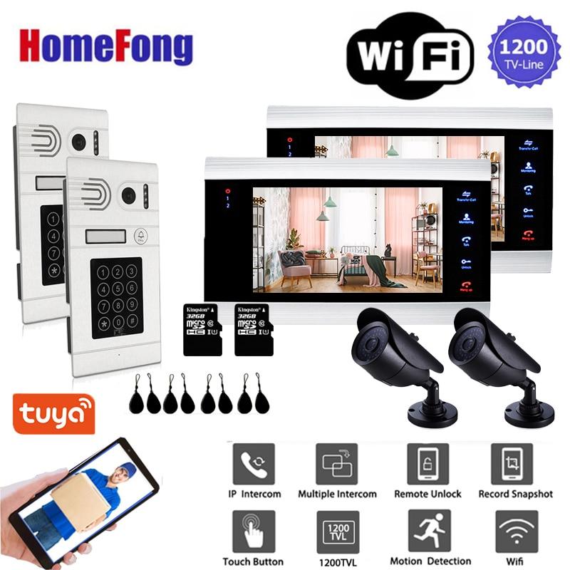 Homefong-هاتف مرئي ذكي مزود بشبكة WiFi مقاس 7 بوصات 1200TVL 2v2 ، اتصال داخلي بالفيديو ، اتصال داخلي بالفيديو ، جرس باب ، تسجيل حركة ، بطاقة RFID بكلمة مرور