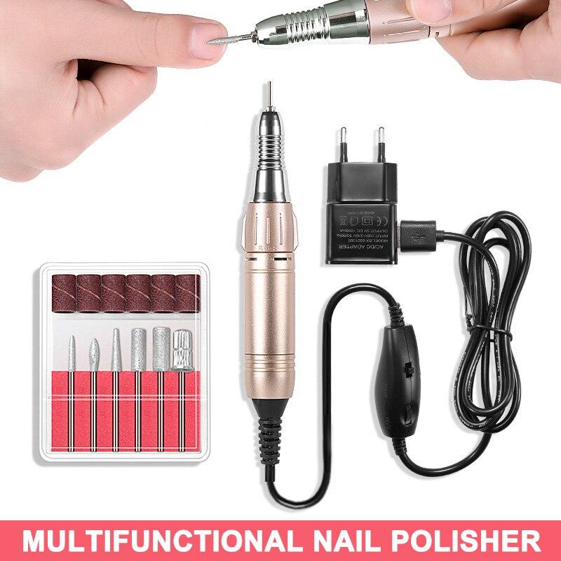 Elétrica do Prego Silencioso e Suave Kit de Broca Manicure Unha Arte Pedicure Polidor Unhas Accesorios-vl16 5000-20000rpm Usb