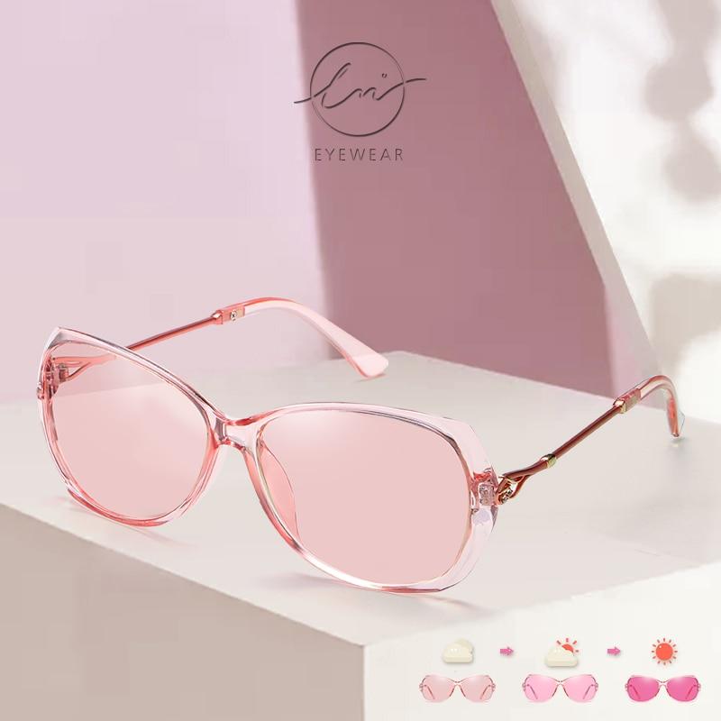 Очки солнцезащитные женские поляризационные, фотохромные роскошные дизайнерские солнечные очки-хамелеоны, меняющие цвет UV400, LM 2021