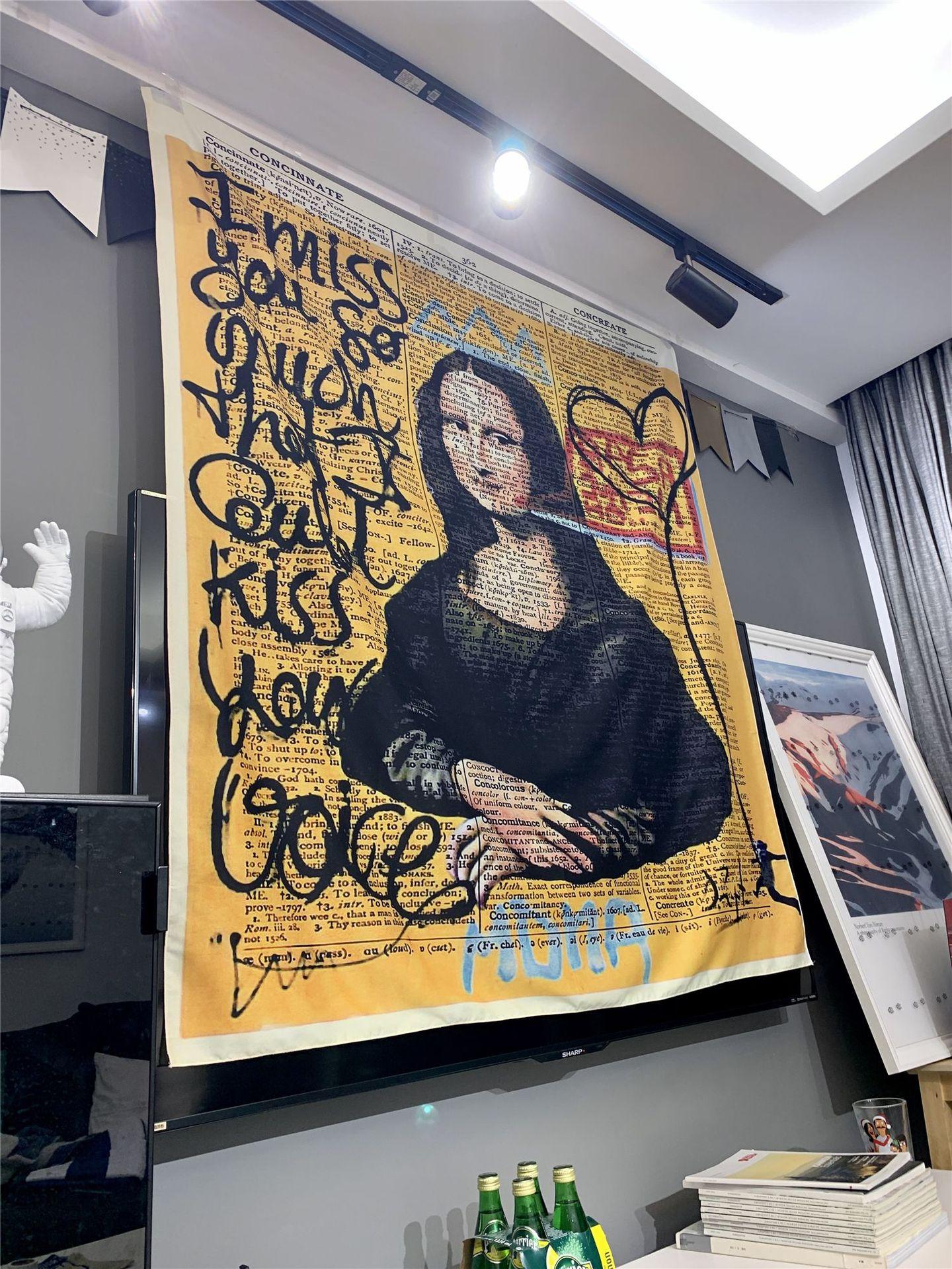 Мона Лиза граффити гобелен настенный богемный пляжный коврик полиэстер одеяло йога коврик для дома Спальня художественный ковер