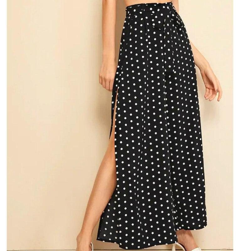 2019 Women Polka Dot Slit Side Boho Pants Summer Casual Holiday Wide Leg Loose Trousers