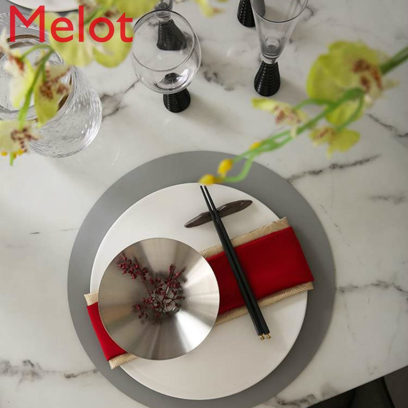 High-End Luxury New Chinese Style Hotel Table Display Tableware Napkin Household round Placemat Chopsticks Shelf White Plate Set