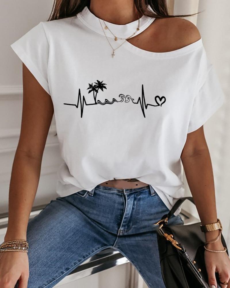 Verano de las mujeres corte Sexy elegante Chic básico corazón imprimir camisetas impresión frío hombro camiseta de manga corta