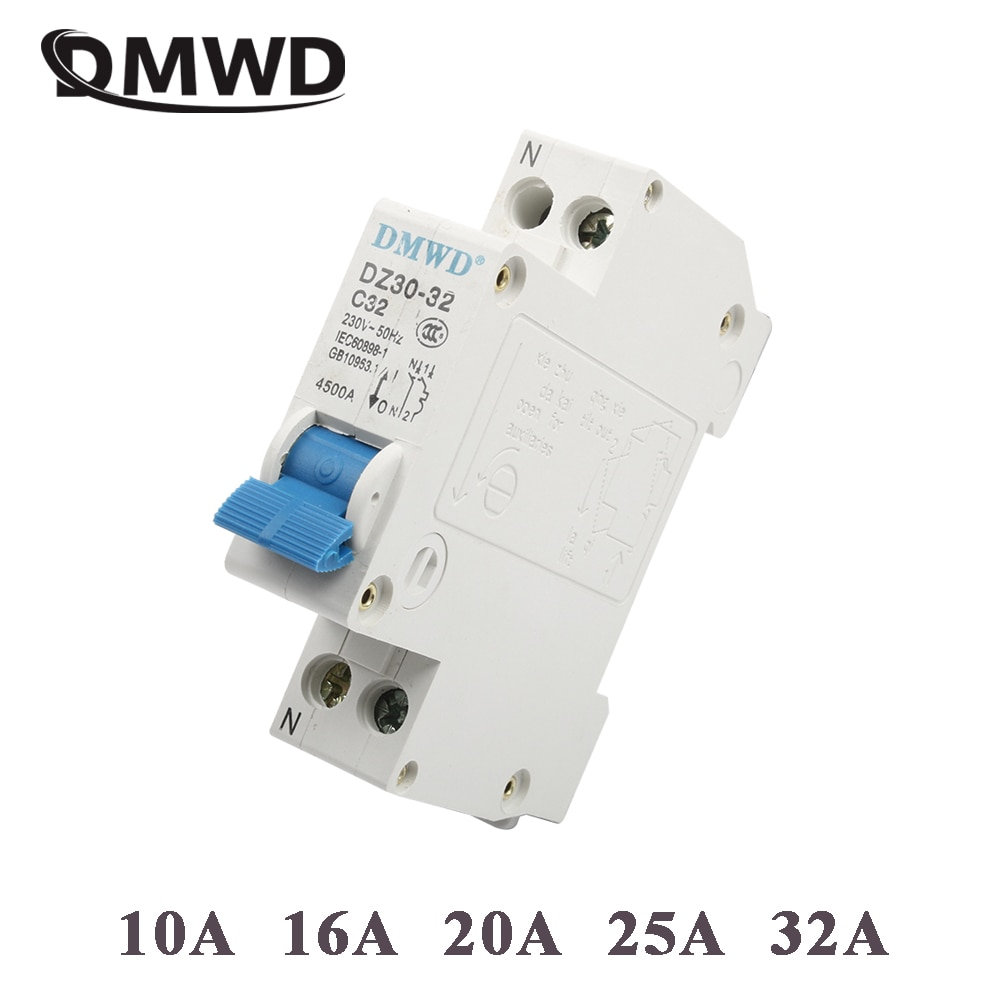 DMWD DPN mini DZ30-32 1P + N 10A 16A 20A 32A 220V 230V 50HZ 60HZ fehlerstromschutzschalter RCBO Mini Circuit breaker FI-SCHUTZSCHALTER