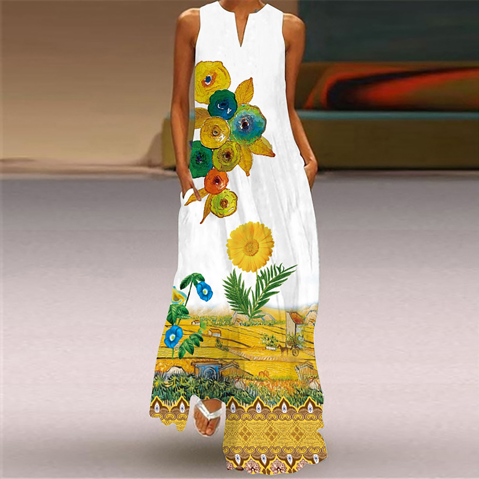 40# Floral Printed Maxi Dress V-neck Sleeveless Split Long Dress Bohemia Ruffle Big Swing Long Woman Dress Vintage Robe Femme