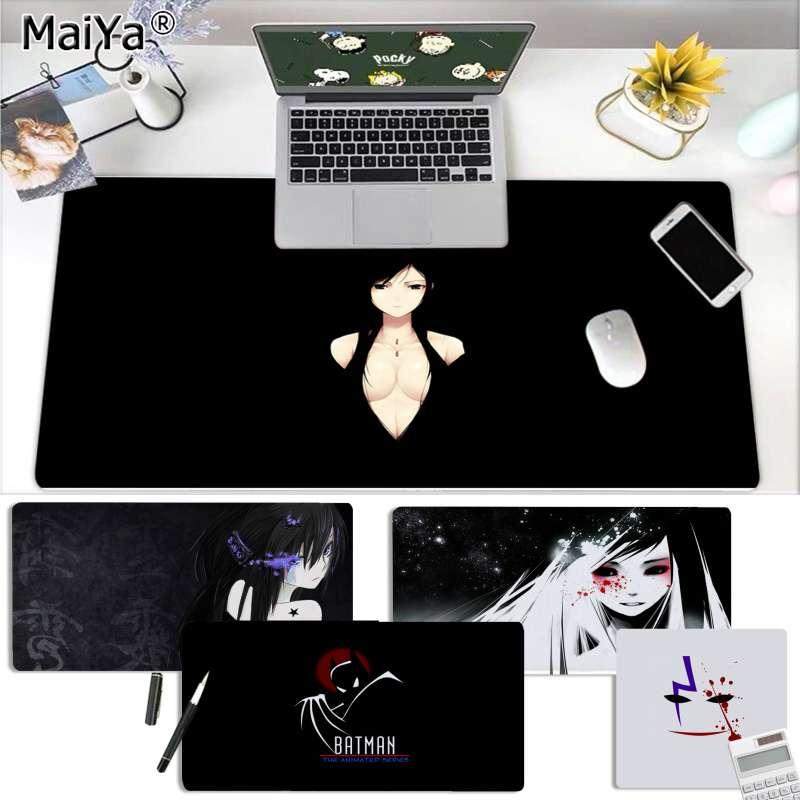 Maiya, ratones de velocidad de Chica de Anime en blanco y negro para jugadores, venta al por menor, alfombrilla para ratón pequeña de goma, envío gratis, alfombrilla grande para ratón, alfombrilla para teclados
