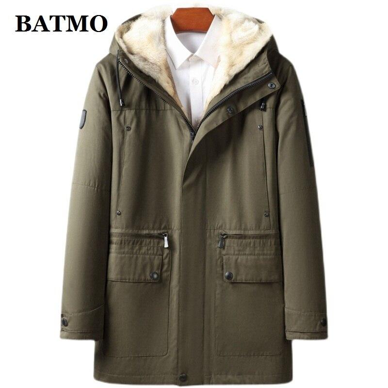 وصل حديثًا من Batmo موضة شتاء 2021 جاكيت رجالي بقلنسوة بفرو وولف دافئ عالي الجودة ، سترات رجالي للشتاء قابلة للفصل