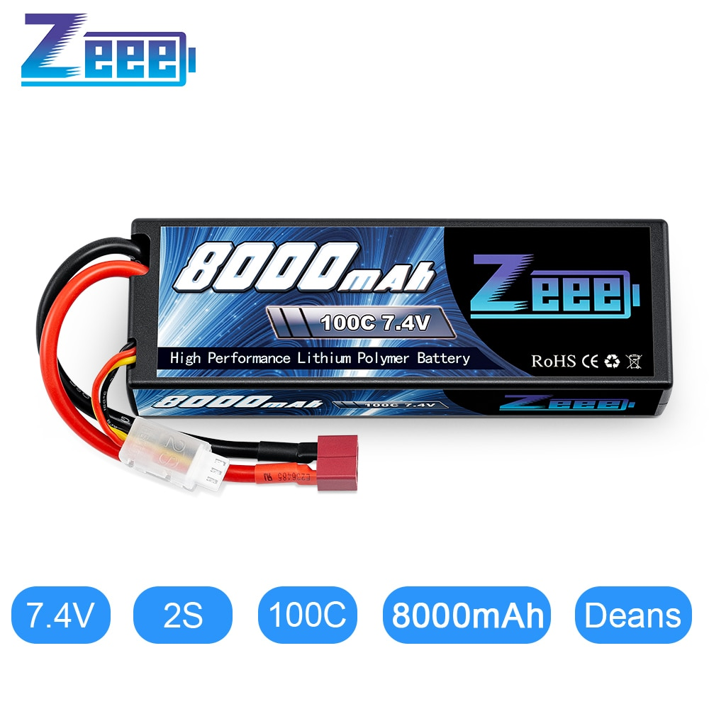 Batería Lipo Zeee 2S 7,4 V 100C 8000mAh Hardcase RC cargador de batería Decan enchufe para RC coche camión barco helicóptero FPV RACING
