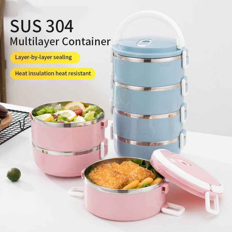 4-Layer 304 Lnsulated Lunch Boxs Student School 700ML/2800ML Health Safety Food Picnic Portable Container Thermos Lunch Box