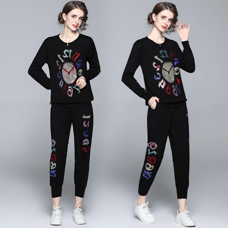 Fashion runway Tracksuit Women Diamond-encrusted Two Piece Set winter Streetwear Long Sleeve Top and Pants Set 6681