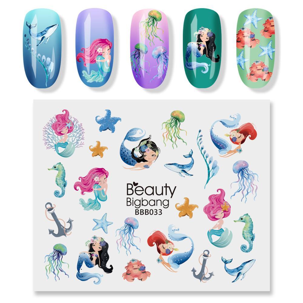2 Pcs Beautybigbang Nail Art Stickers Mermaid Blue Kleur Jelly Zee Ster Anker Afbeelding Water Decals Nagels Sticker Art BBB033