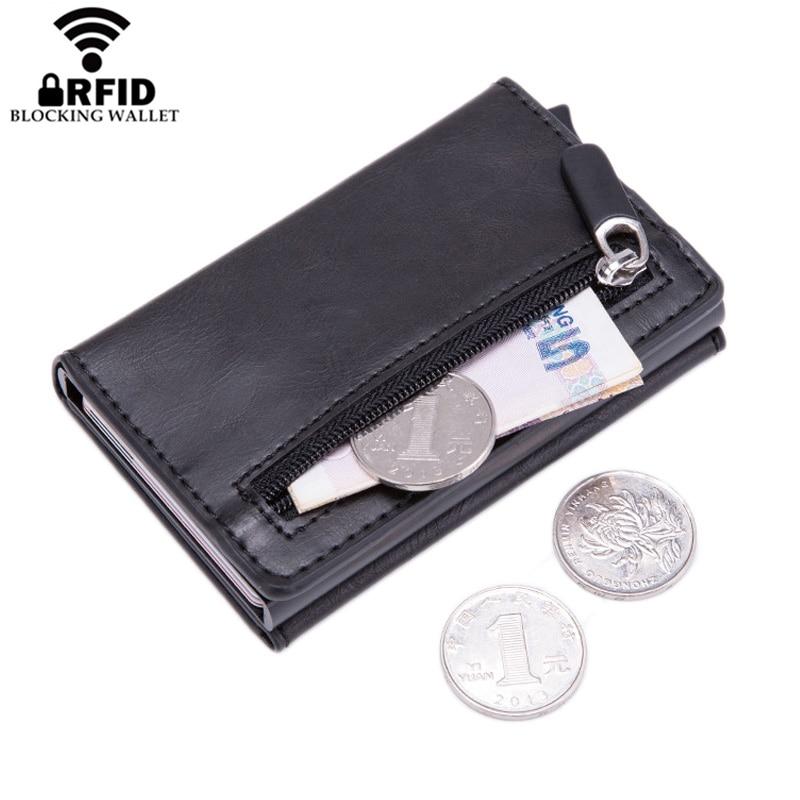 Rfid bloqueando carteira inteligente masculina com bolso de moeda bolsa de couro ímã botão titular do cartão de crédito homem saco de dinheiro caso de cartão de metal