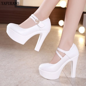 Plus Size Womens Pumps 13 m Super High Heels Square Heel Platform Single Shoes Models Cheongsam Catwalk Female Shoes 32,33,42,43