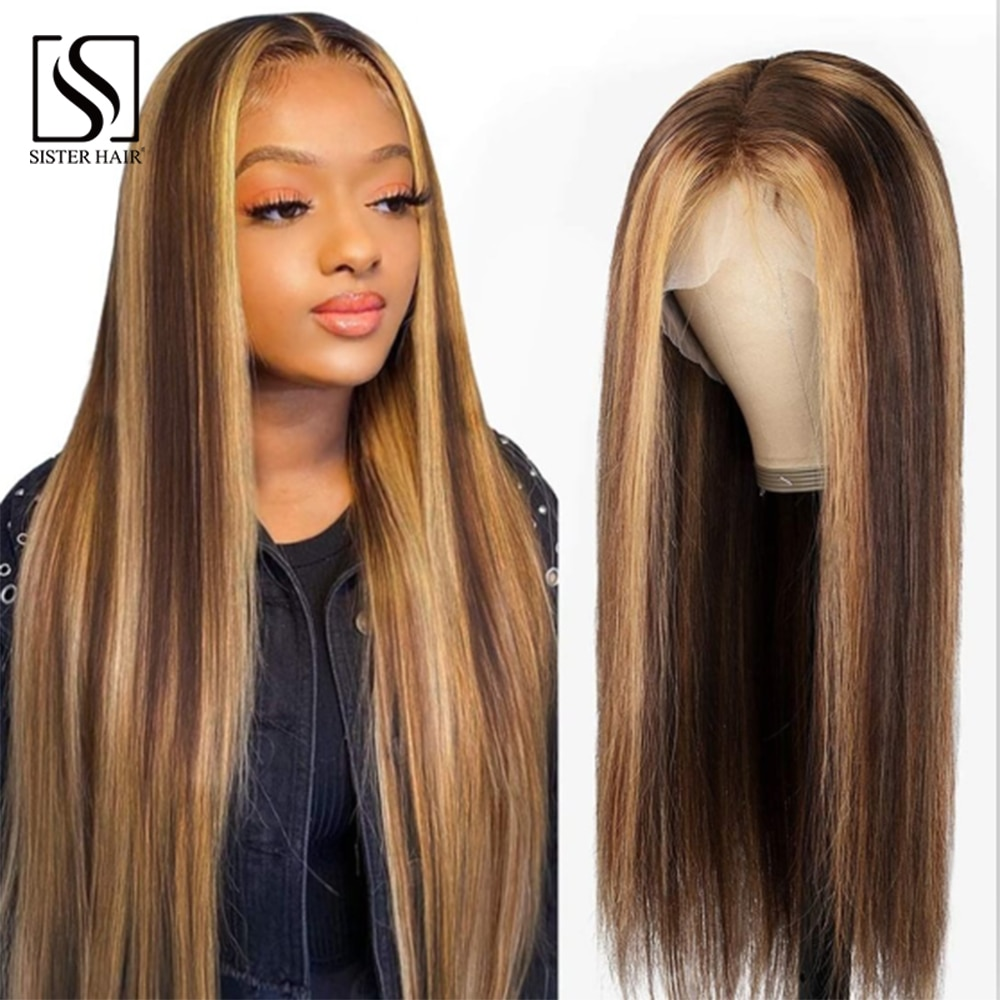 Highlight TransparentHuman Hair Wig 4x4 Ombre Closure Wig Straight Lace Front Wig Pre Plucked