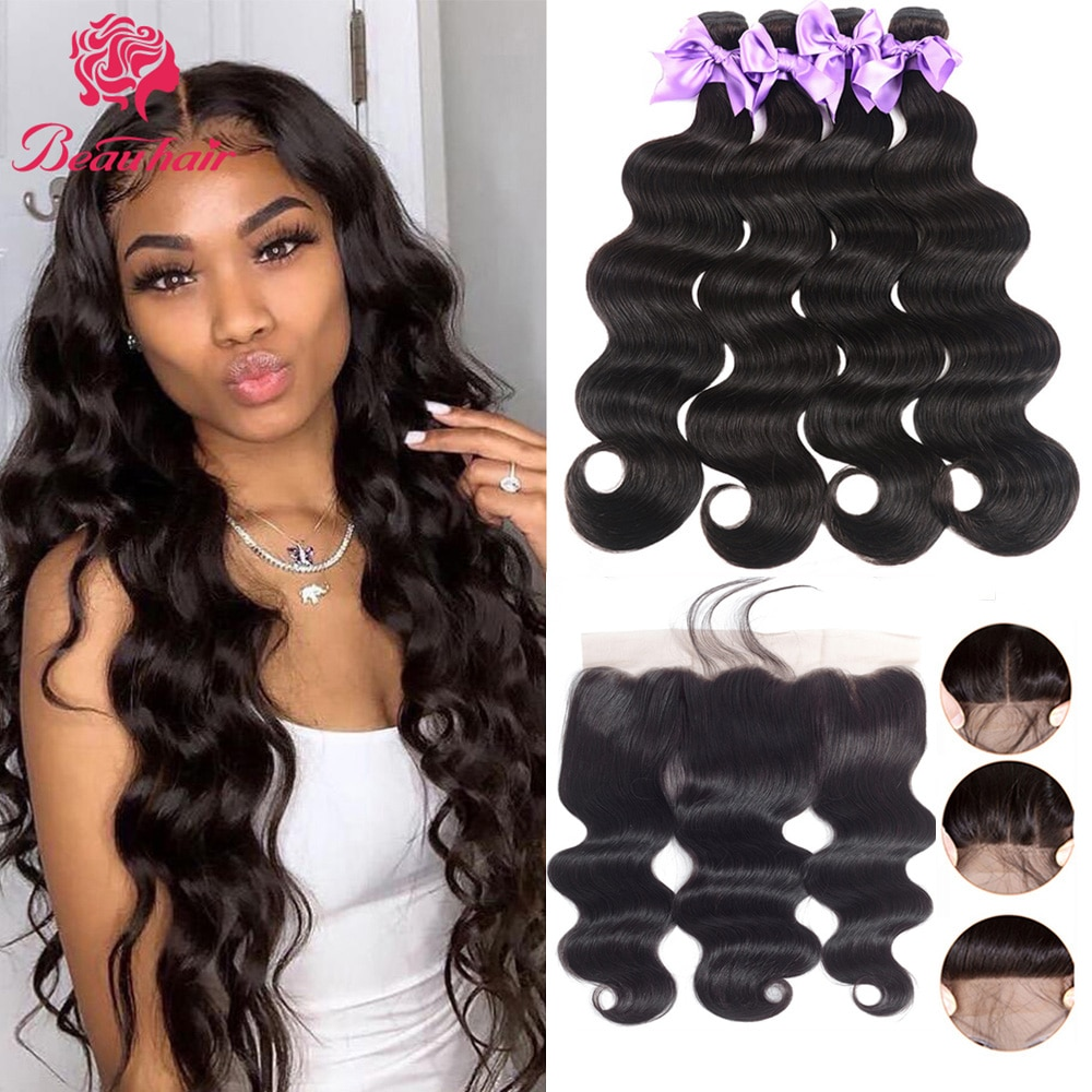 28 30 32 Peruvian Human Hair Waves Body Wave Bundles With Lace Frontal Bleach Knot 13x4 Lace Frontal Human Hair Extension Remy