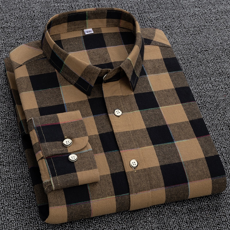 Men Long Sleeve Khaki Plaid Shirt Spring New Casual Slim Korean Pure Cotton Big Size Japanese M-5Xl