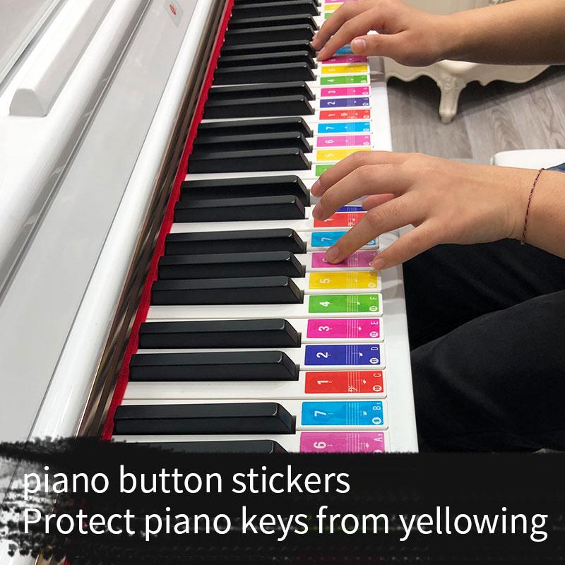 49 61 88 teclas Piano eléctrico teclado sonido nombre pegatinas clave pegatina Piano Stave calcomanía sobre música etiqueta calcomanía de nota