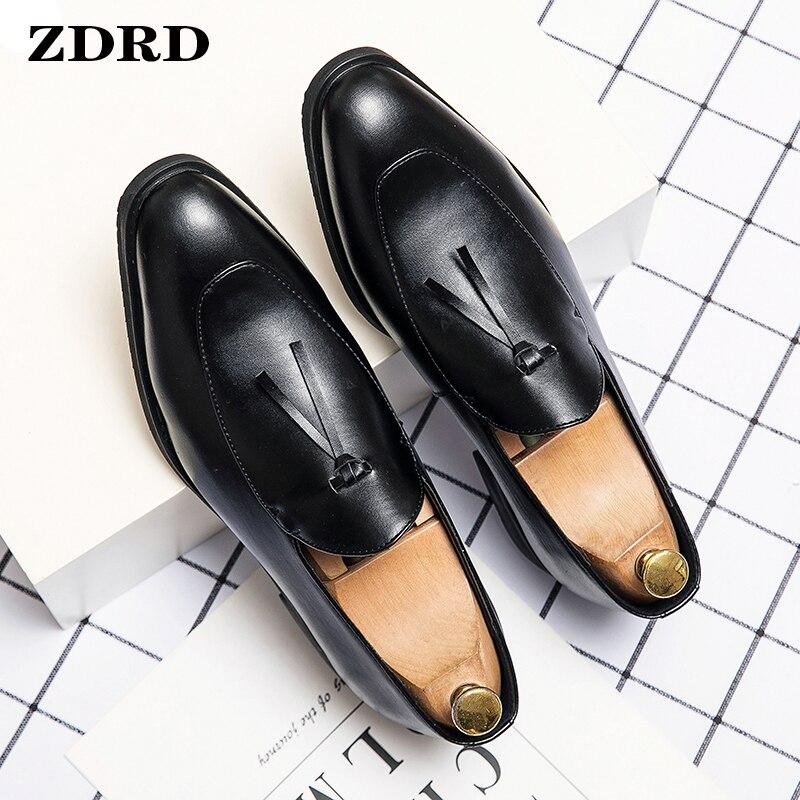 Luxury Men Loafers Shoes Summer Men Dress Shoes Office Business Slip On Coffee Black Tassel Loafers