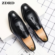 Luxury Men Loafers Shoes Summer Men Dress Shoes Office Business Slip On Coffee Black Tassel Loafers
