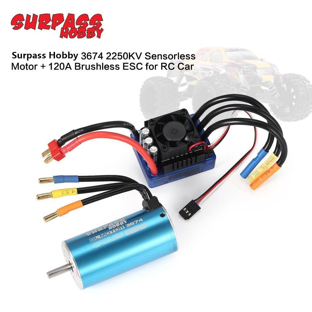 Surpass Hobby 3674 2250KV 4P Sensorless Brushless Motor And 120A Brushless ESC For 1/8 1/10 RC Car RC Boat enlarge