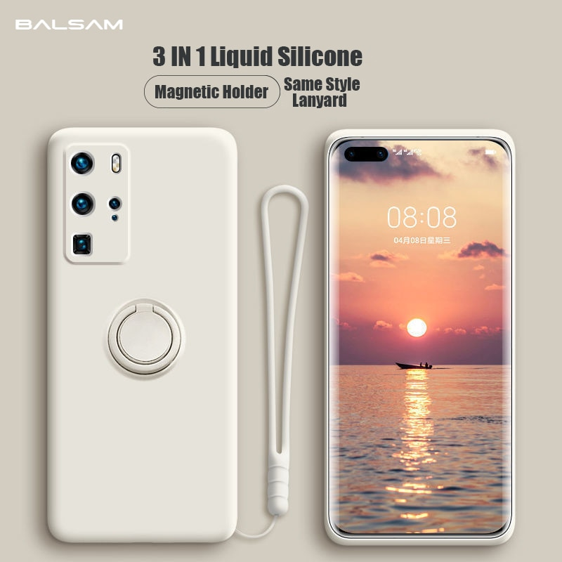 Liquid Silicone Case For Huawei P40 P30 P20 Mate40 30 20 Pro Lite Honor 30 20S Nova 6 7SE Pro Magnet