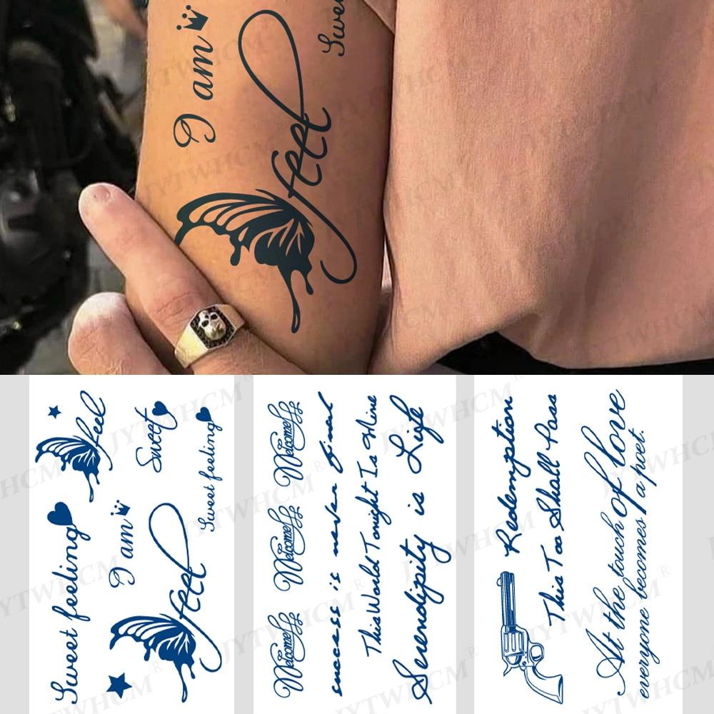 Lasting Waterproof Temporary Tattoo Sticker Blue English Letter Stickers Body Art Hand Butterfly Tattoo For Women Men Arm Leg professional steel tattoo arm leg hand shelf bracket rest stand portable adjustable chair tripod holder for tattooing body art