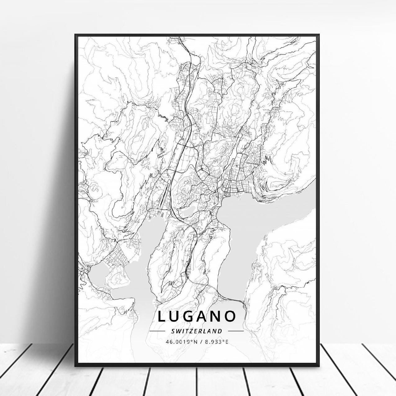 Lugano-Póster Artístico de Bern Lausanne St Gallen, Zúrich Geneva, Switzerland Basel, impresiones...