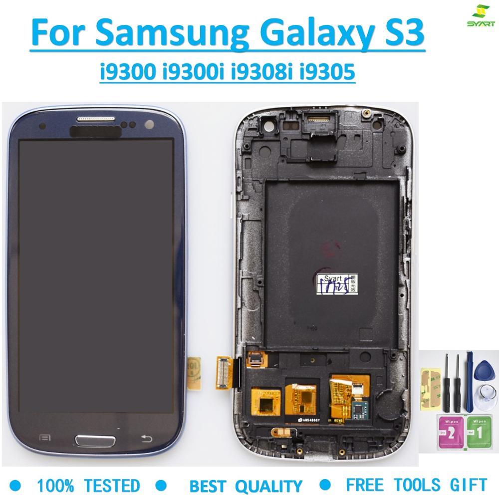 Montaje de digitalizador con pantalla táctil LCD S3 TFT de 4,8 pulgadas con carga de marco para Samsung Galaxy S3 i9300 i9300i i9308i i9305