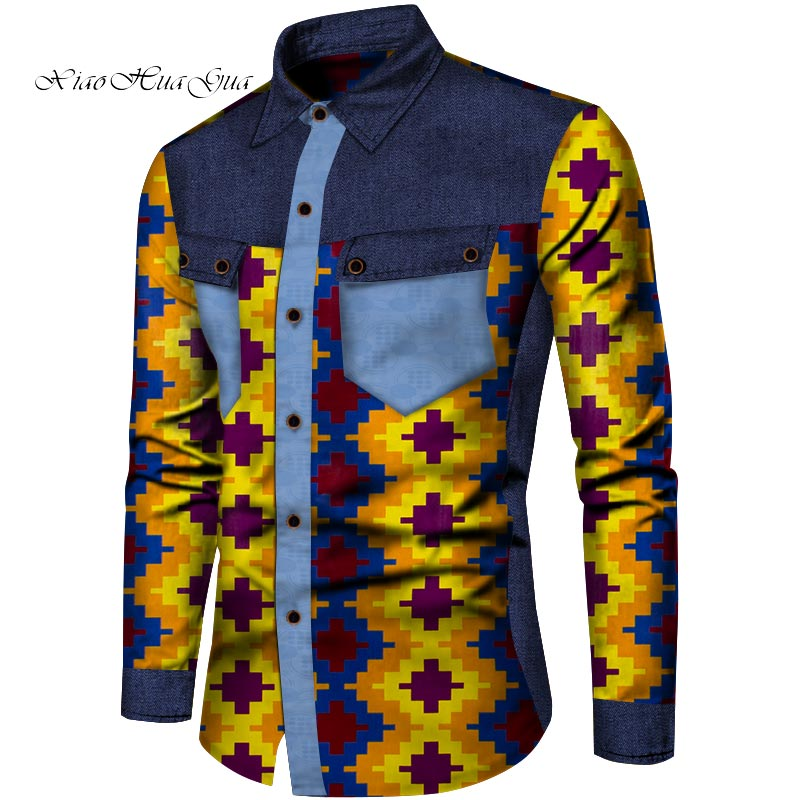 Африканская мужская одежда Дашики рубашки Мода Анкара Печать Лоскутная рубашка мужская Топ с длинным рукавом Одежда на заказ WYN850