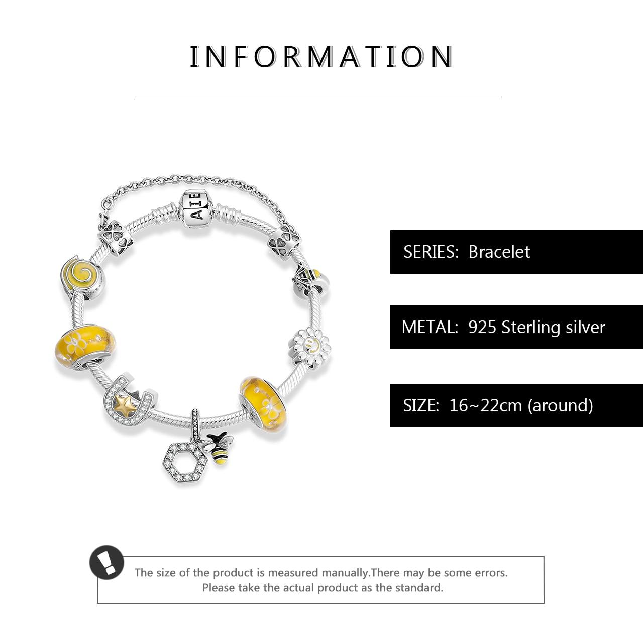 Hot sale 925 Sterling Silver Hardworking bee yellow Enamel Bracelets with glass beads Bracelets for Women fashion Jewelry