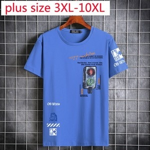 New Suepr Large Summer Youth Men Short Sleeve Fashion Printed Lycra Cotton O-neck Knitted Casual T Shirt Plus Size 3XL-9XL 10XL