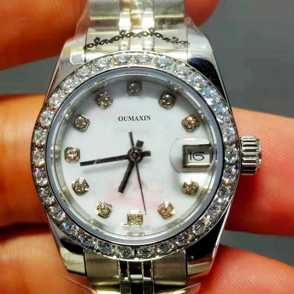 Ladies Watch Fashion Ladies Watch Automatic Mechanical 26.5mm Sapphire Glass White Dial316Stainless Steel Clock 16233