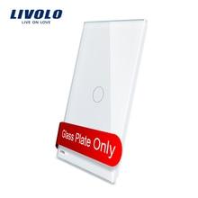 Livolo-verre de luxe standard US   125mm, panneau en verre blanc, pas le commutateur, tout panneau pour les interrupteurs de prises, fonction sans interrupteur!