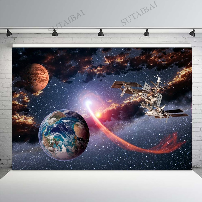 Outer Space Backdrop Planet Spacecraft Universe Mysterious Galaxy Birthday Party Photo Wallpaper Background PhotographyStudio