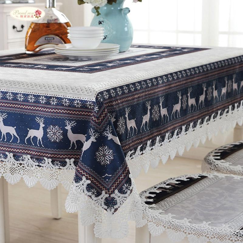 Manteles escandinavos para mesa de estilo europeo de Rosa imponente, mantel para mesa de café, mantel de dibujos animados para mesa de Navidad
