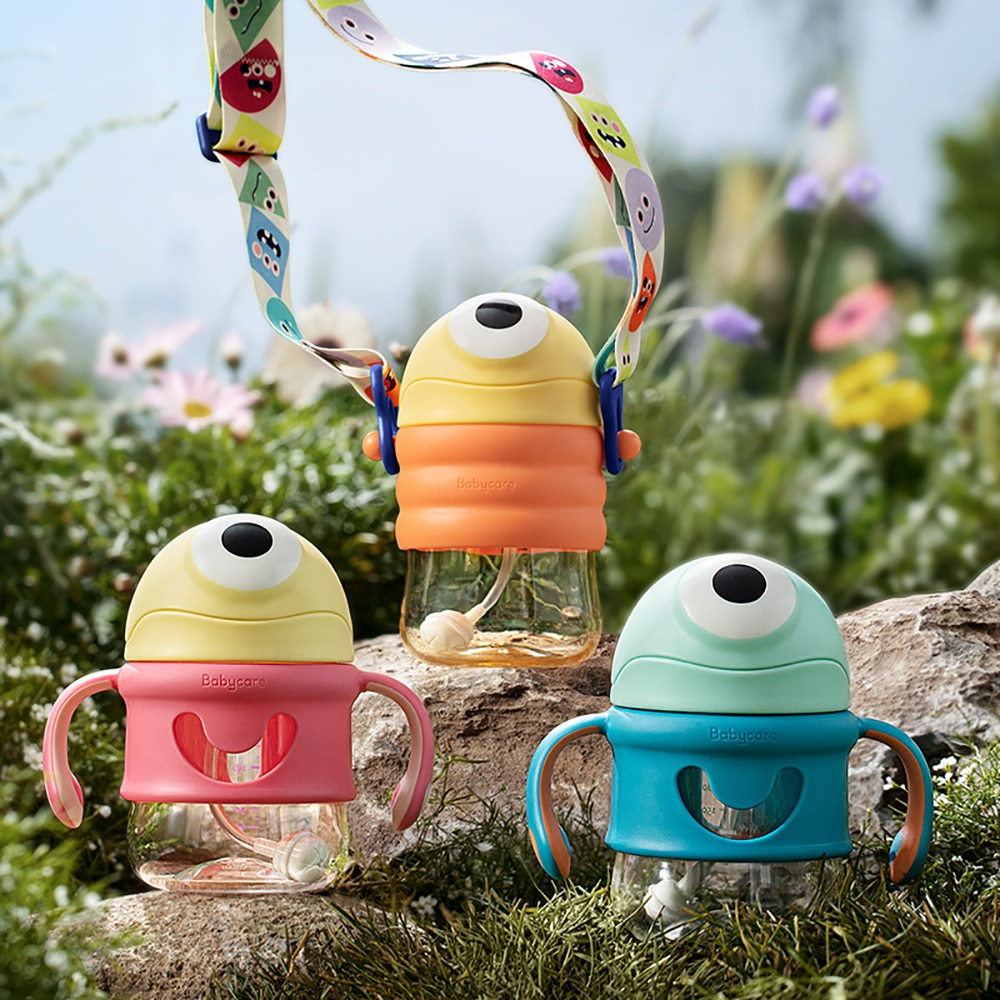 =220/300ml Baby Feeding Cup with Straw/Duckbill Leakproof Cartoon Outdoor Shoulder Strap/Handle Leaning Water Bottles