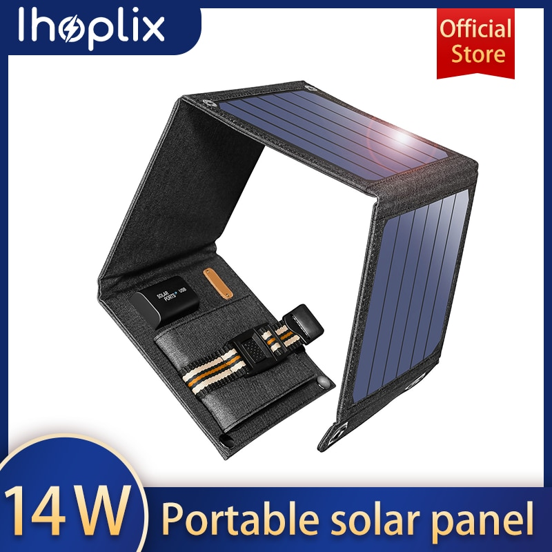 Ihoplix Solar folding Charger 14W USB Output Devices Portable Waterproof Solar Panels for iPad iPhone X Samsung Smartphones