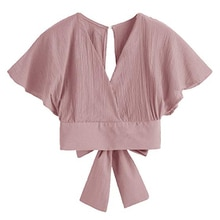 Summer 2019 Women Vintage Elegant Short Blouses Fashion Sexy V-neck Back Bowknot Tie Shiffon Shirt Casual Solid Blouse Crop Tops