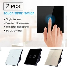 2 unids/set EU/UK estándar 1/2/3 Gang 1 Way cristal Panel interruptor inteligente panel del interruptor de la pantalla táctil de la luz del hogar nuevo